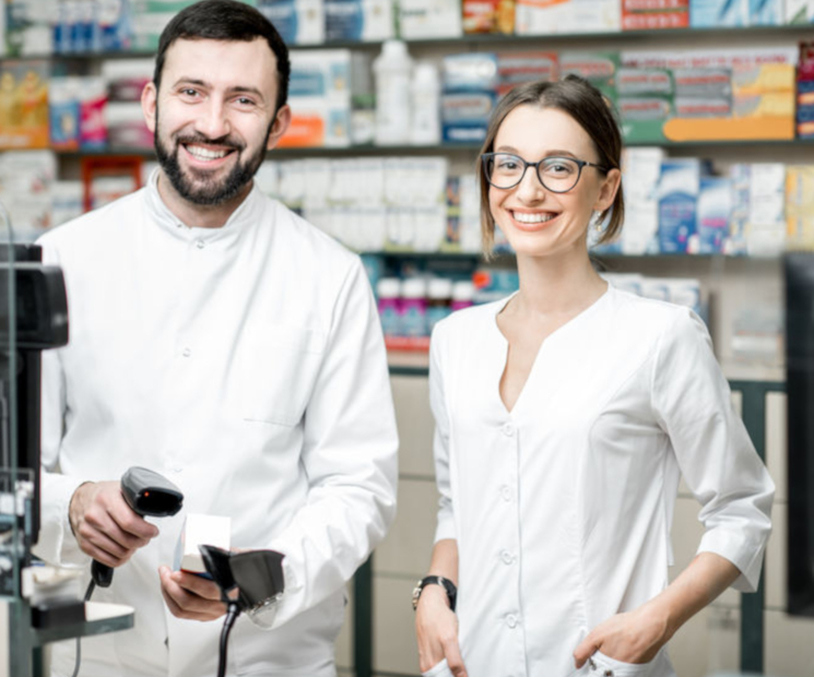 Pharmacists working in the pharmacy store